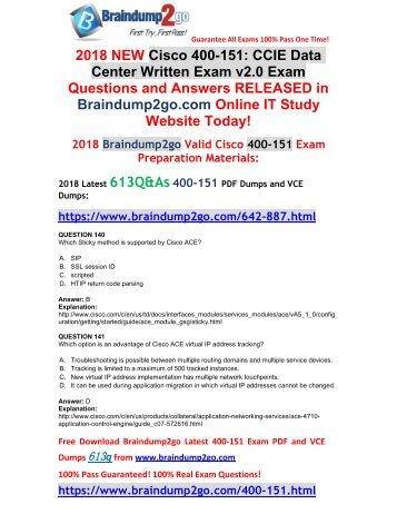 (2018-April-New)Braindump2g 400-151 VCE Dumps 613Q Free Share(140-150)