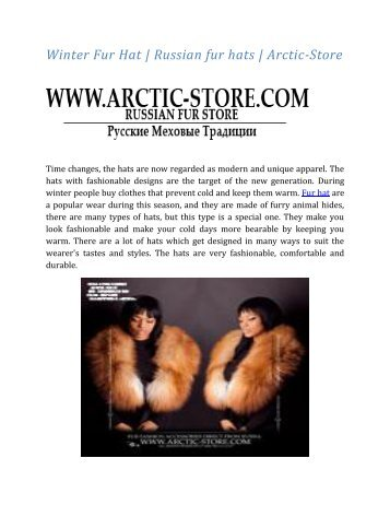 Winter Fur Hat | Russian fur hats | Arctic-Store