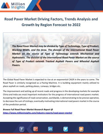 Road Paver Market Driving Factors, Trends Analysis and Growth by Region Forecast to 2022