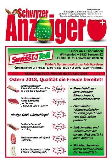 Schwyzer Anzeiger – Woche 13 – 29. März 2018