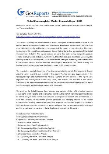 Global Cyanoacrylates Market Research Report 2017