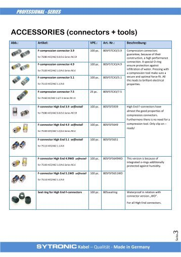 Accessories (connectors and tools)
