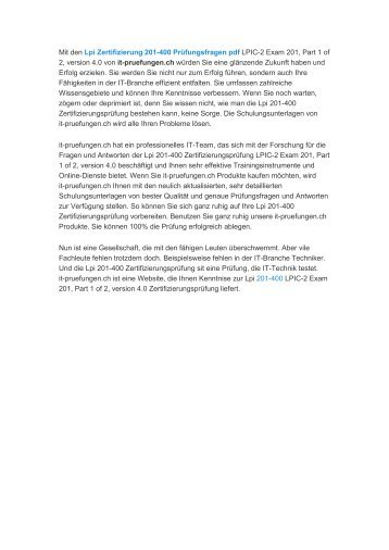 Lpi Zertifizierung 201-400 Prüfungsfragen pdf