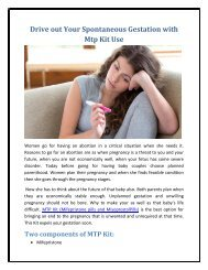 Drive out Your Spontaneous Gestation with Mtp Kit Use