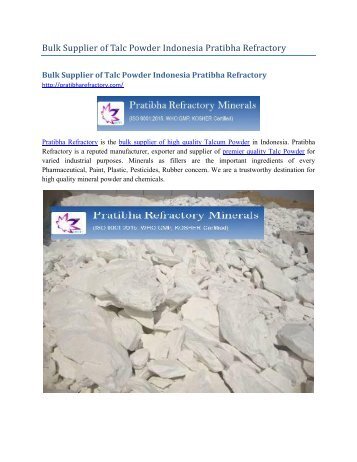 Bulk Supplier of Talc Powder Indonesia Pratibha Refractory