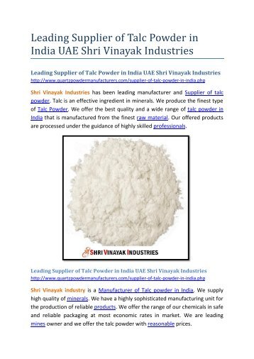 Leading Supplier of Talc Powder in India UAE Shri Vinayak Industries