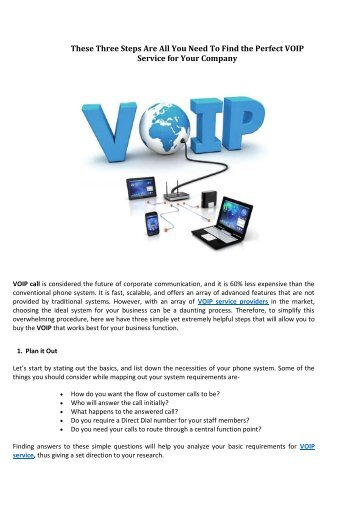 These Three Steps Are All You Need To Find the Perfect VOIP Service for Your Company