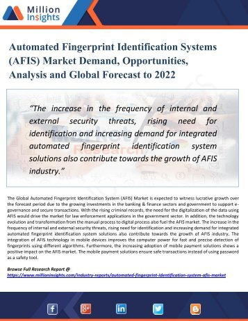Automated Fingerprint Identification Systems (AFIS) Industry Demand, Growth, Opportunities, Analysis and Forecast to 2022