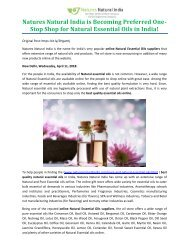 Natures Natural India is Becoming Preferred One-Stop Shop for Natural Essential Oils in India!