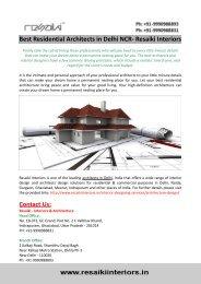 Best Residential Architects in Delhi NCR- Resaiki Interiors