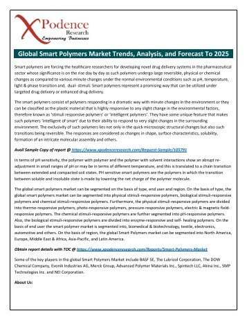 Smart Polymers Market- Increasing demands with Industry Professionals: Spintech LLC, Akina Inc., etc.