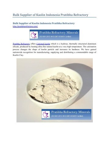 Bulk Supplier of Kaolin Indonesia Pratibha Refractory