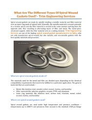 What Are The Different Types Of Spiral Wound Gaskets Used? - Trim Engineering Services