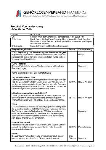 2017-09-06 Protokoll Vorstandssitzung GLVHH - öffentlicher Teil
