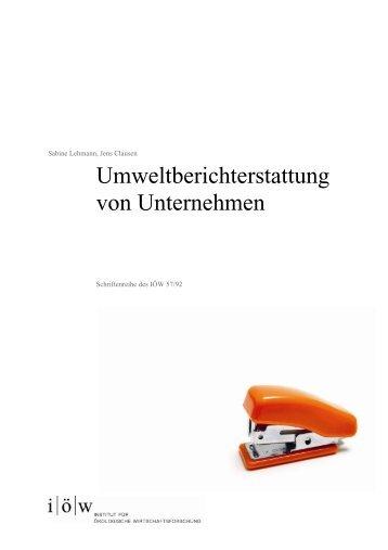 Umweltberichterstattung von Unternehmen - Institut für ökologische ...