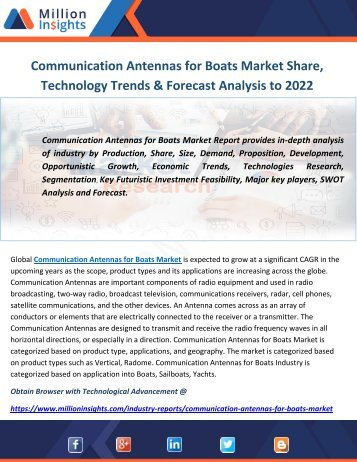 Communication Antennas for Boats Market Share, Technology Trends & Forecast Analysis to 2022