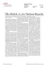 Oko Hektik in der Outdoor Branche - Erklärung von Bern