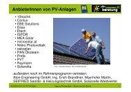 AnbieterInnen von PV-Anlagen - Umweltberatung
