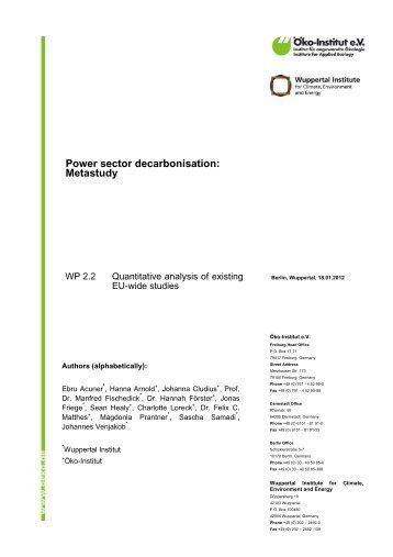 Power sector decarbonisation: Metastudy - Öko-Institut eV