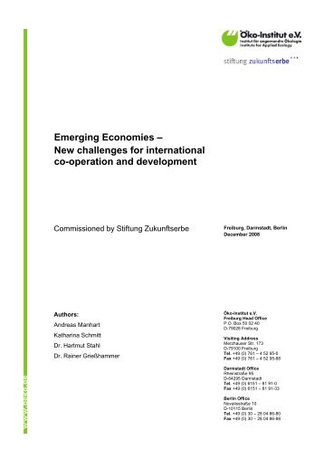 Emerging Economies – New challenges for ... - Öko-Institut eV