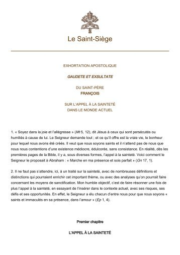 Exhortation Gaudete Et Exultate