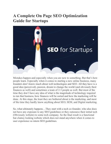 A Complete On Page SEO Optimization Guide for Startups
