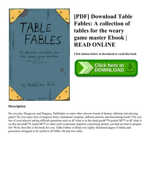 PDF] Download Table Fables A collection of tables for the ...