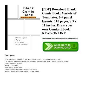 [PDF] Download Blank Comic Book Variety of Templates  2-9 panel layouts  110 pages  8.5 x 11 inches  Draw your own Comics Ebook  READ ONLINE