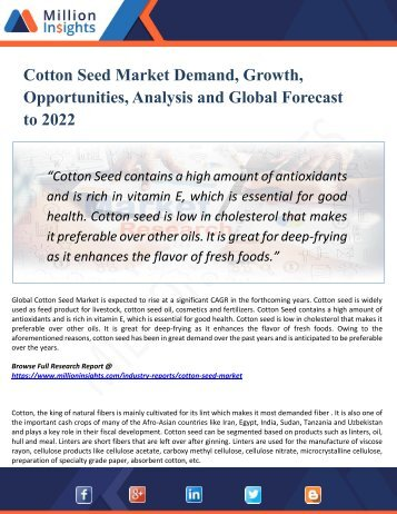 Cotton Seed Market Size, Drivers, Opportunities, Top Companies, Trends, Challenges, & Forecast 2022