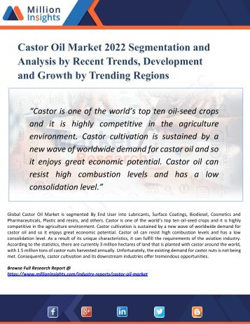 Castor Oil Market Growth Challenges, Key Vendors, Drivers, Technical Analysis and Trends by Forecast to 2022