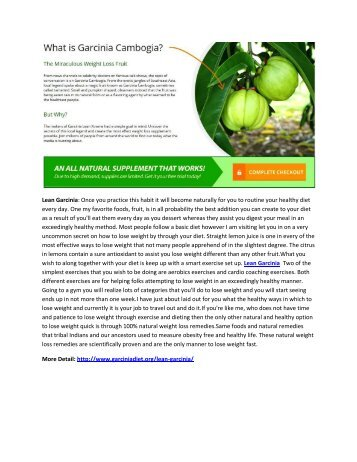 Lean Garcinia - New Weight Loss Supplement