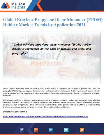Global Ethylene Propylene Diene Monomer (EPDM) Rubber Market Trends by Application 2021