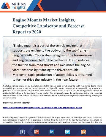 Engine Mounts Market Insights, Competitive Landscape and Forecast Report to 2020