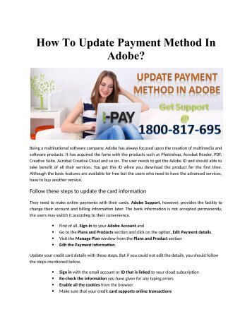 How To Update Payment Method In Adobe?