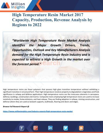 High Temperature Resin Market 2022 by Opportunities, Geography Analysis
