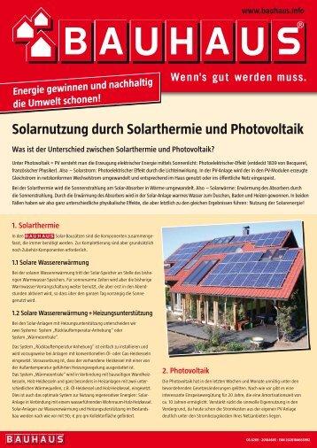 Solarnutzung durch Solarthermie und Photovoltaik - Bauhaus