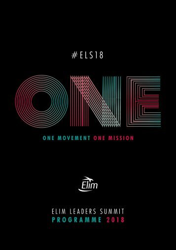 Elim Leaders Summit Programme 2018