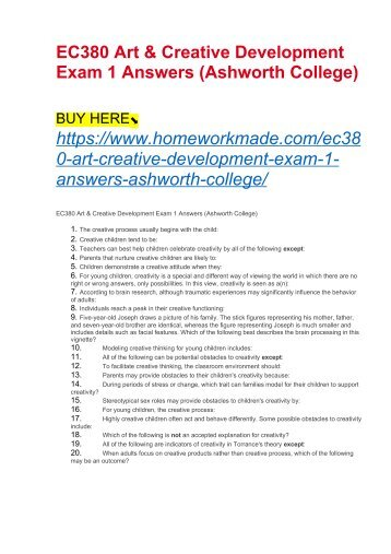 EC380 Art & Creative Development Exam 1 Answers (Ashworth College)