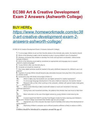 EC380 Art & Creative Development Exam 2 Answers (Ashworth College)