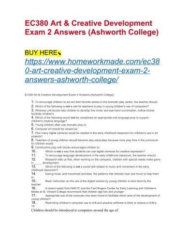 EC380 Art & Creative Development Exam 2 Answers (Ashworth College)