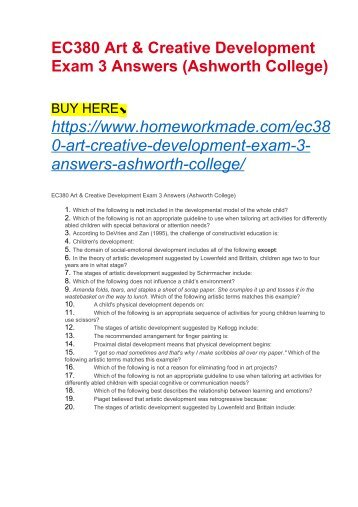 EC380 Art & Creative Development Exam 3 Answers (Ashworth College)