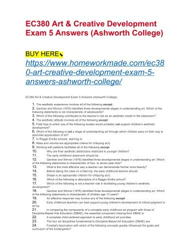 EC380 Art & Creative Development Exam 5 Answers (Ashworth College)