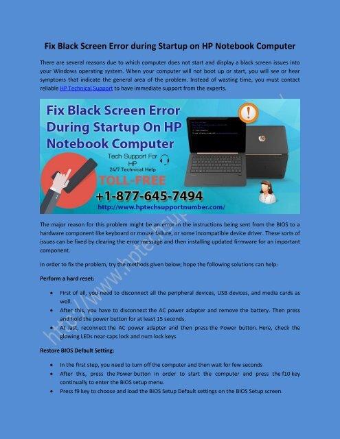 Fix Black Screen Error during Startup on HP Notebook Computer