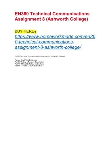 EN360 Technical Communications Assignment 8 (Ashworth College)