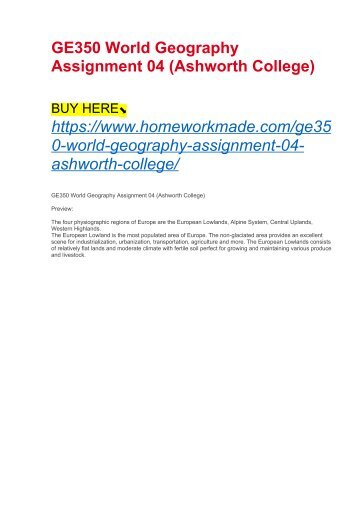 GE350 World Geography Assignment 04 (Ashworth College)