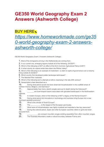 GE350 World Geography Exam 2 Answers (Ashworth College)