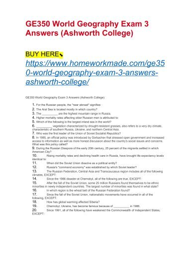 GE350 World Geography Exam 3 Answers (Ashworth College)