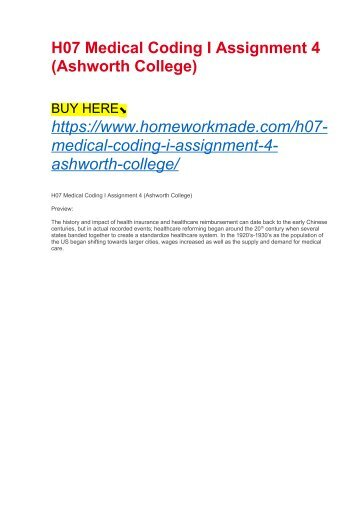 H07 Medical Coding I Assignment 4 (Ashworth College)