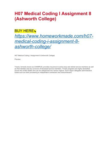 H07 Medical Coding I Assignment 8 (Ashworth College)