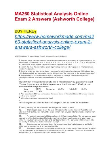 MA260 Statistical Analysis Online Exam 2 Answers (Ashworth College)